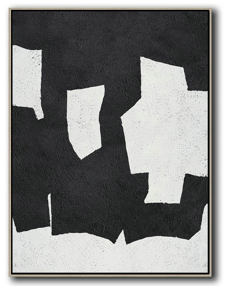 Black And White Minimal Painting On Canvas,Lounge Room Decor #H3U9